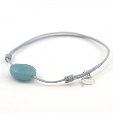 Bracelet cordon gris Amazonite facettée