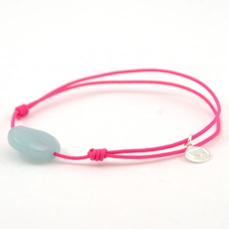 Bracelet Amazonite facettée cordon fushia
