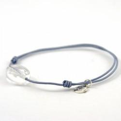 Bracelet cordon gris cristal de roche facettée