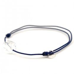 Bracelet cordon marine cristal de roche facettée