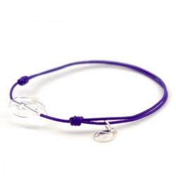 Bracelet cordon violet cristal de roche facettée