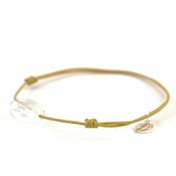 Bracelet cordon beige doré cristal de roche facettée