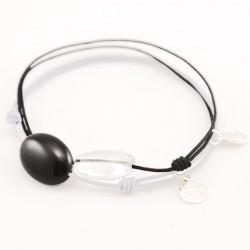Ensemble 2 bracelets cordon noir Onyx / cristal de roche facetté
