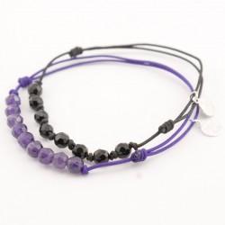 Ensemble 2 bracelets cordon violet 9 pierres améthyste et noir onyx