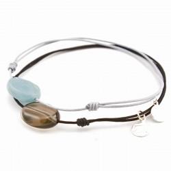 Ensemble 2 bracelets cordon noir quartz fumé / gris jade bleu