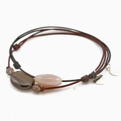 Ensemble 2 bracelets cordon marron 3 quartz fumés et noir pierre de lune facettée