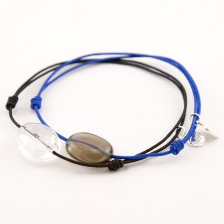 Ensemble 2 bracelets cordon bleu quartz fumé / cristal de roche facetté cordon noir