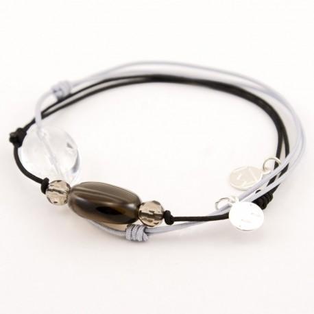 Ensemble 2 bracelets cordon noir 3 quartz fumés et cristal de roche gris