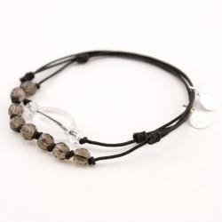 Ensemble 2 bracelets cordon noir 3 cristal de roches et cordon noir multi pierres