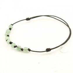 Bracelet 8 Aventurine avec noeuds pendant argent 925 cordon noir