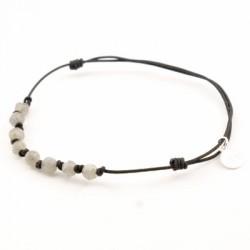 Bracelet 9 pierres Labradorite avec noeuds cordon noir