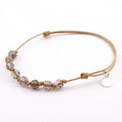 Bracelet 8 pierres quartz fumés avec noeuds cordon Gold