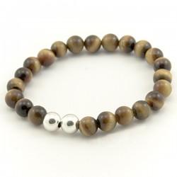 Bracelet homme oeil de tigre doré 8 mm pierres rondes