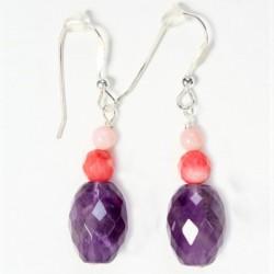 Améthyste ovale corail rose facetté et lisse Boucles d'oreilles argent massif 925