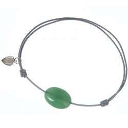 Bracelet cordon Gris Aventurine verte