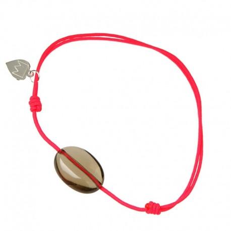 Bracelet cordon Fushia Quartz fumé
