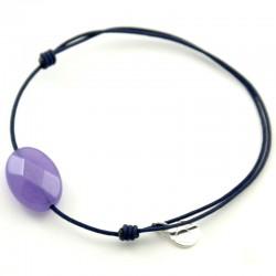 Bracelet cordon marine jade violet facetté pendant argent massif