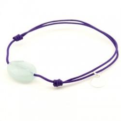 Bracelet jade bleu facetté cordon violet pendant argent massif