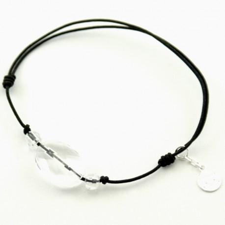 Bracelet 3 pierres cristal de roches facettées cordon marine pendant argent massif 925