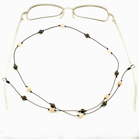 Cordon pour lunettes avec 16 pierres de lunes et quartz fumés
