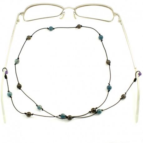 Cordon pour lunettes avec 16 pierres oeil de chats et apatites