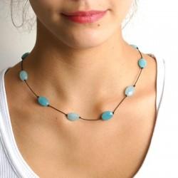Collier 5 jades bleus et 4 amazonites facettées fermoir argant massif