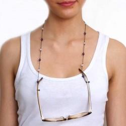 Cordon pour lunettes avec 16 pierres améthystes, quartz roses