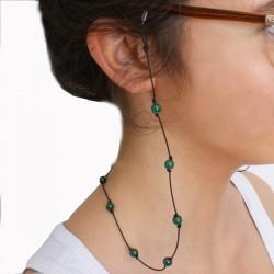 Cordon pour lunettes avec 16 pierres Malachite