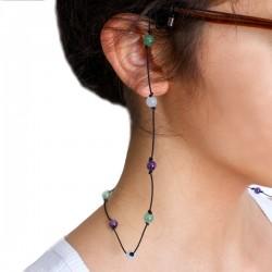 Cordon pour lunettes avec 16 pierres améthystes, aventurines et aigues marines