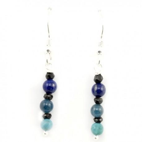 Boucles d'oreilles argent massif 925 amazonite apatite et lapis lazulis