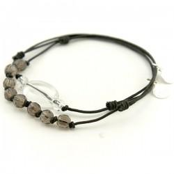 Ensemble 2 bracelets cordon noir 8 quartz fumés et 3 cristal de roches