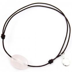 Bracelet cordon marron Quartz rose