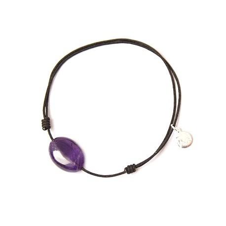 Bracelet cordon noir Améthyste