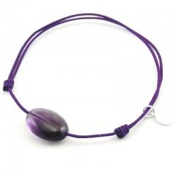 Bracelet cordon violet Améthyste