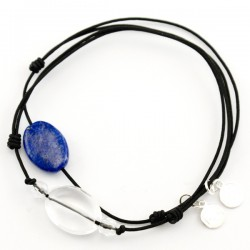 Ensemble 2 bracelets cordon noir Lapis lazuli et noir 3 Cristal de roche