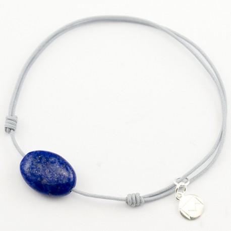 Bracelet cordon Gris Labradorite facettée