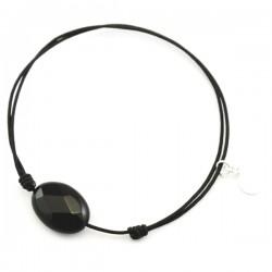 Bracelet cordon noir Onyx facetté