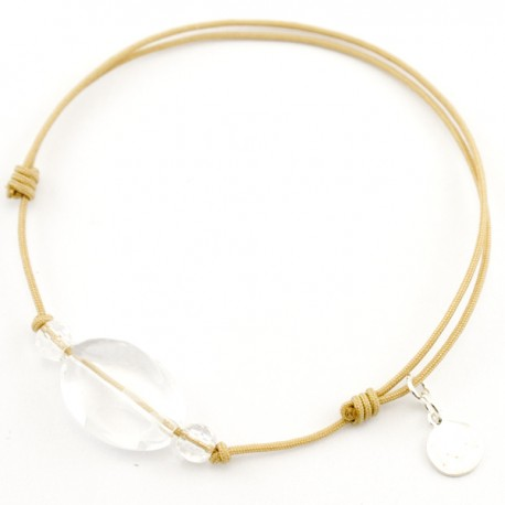 Bracelet 3 pierres cristal de roches cordon gold pendant argent massif 925