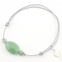 Bracelet cordon gris 3 aventurines vertes pendant argent massif