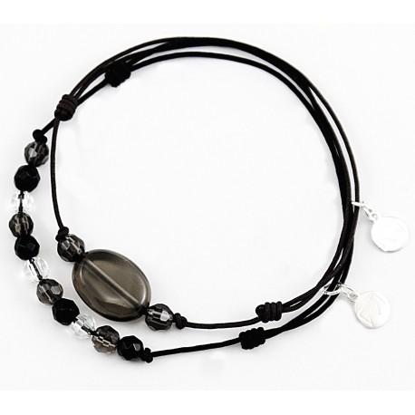 Ensemble 2 bracelets cordon noir Onyx / cristal de roche
