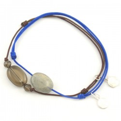 Ensemble 2 bracelets cordon marron 3 quartz fumés et bleu labradorite