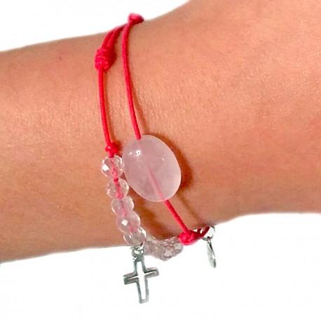 Bracelet de communion cordon fushia 10 quartz roses