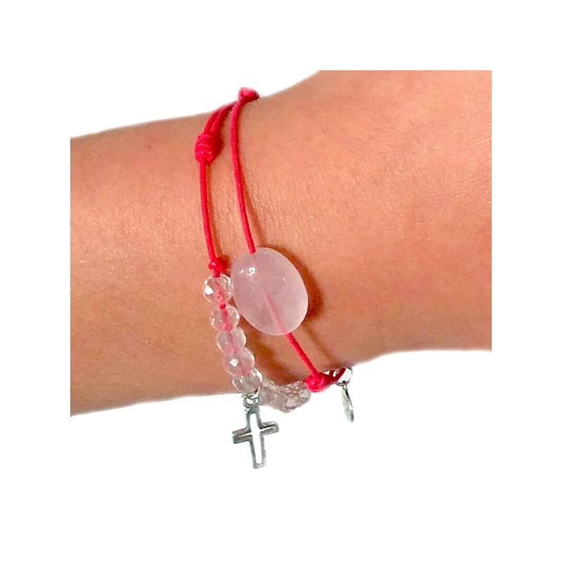 la moitié 79b12 dabab Bracelet de communion cordon fushia 10 quartz roses