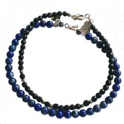 Ensemble 2 bracelets onyx et quartz fumé