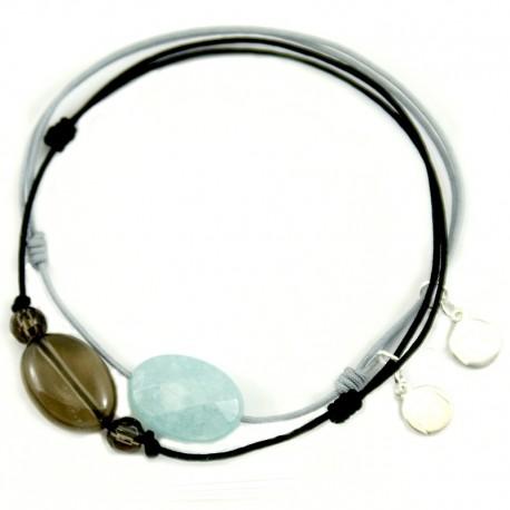 Ensemble 2 bracelets cordon noir 3 quartz fumés et gris jade bleue facettée