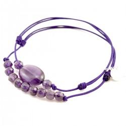 Ensemble 2 bracelets cordon violet 3 Améthystes et 9 améthyste facettées