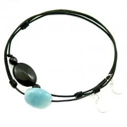 Ensemble 2 bracelets cordon noir amazonite et noir 3 onyx