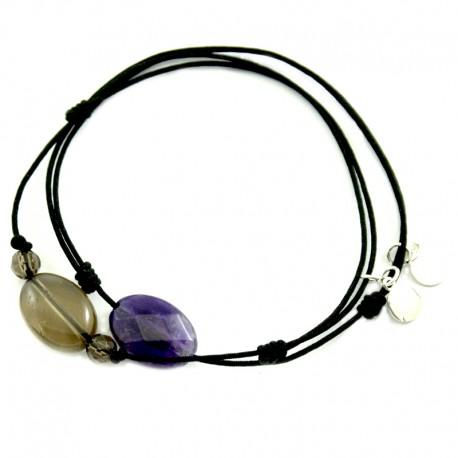 Ensemble 2 bracelets cordon noir améthyste facettée et noir quartz fumés 3 pierres
