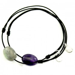 Ensemble 2 bracelets cordon noir labradorite et noir améthyste