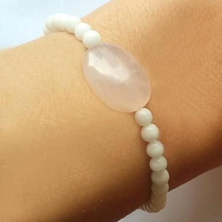 Bracelet quartz rose-tourmaline noire